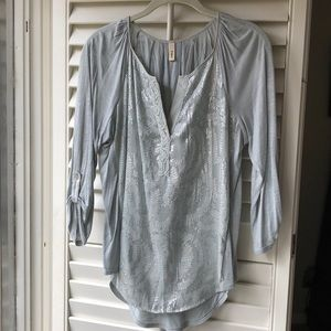 Anthropologie Top. Beautiful Silver-Sage Color!!